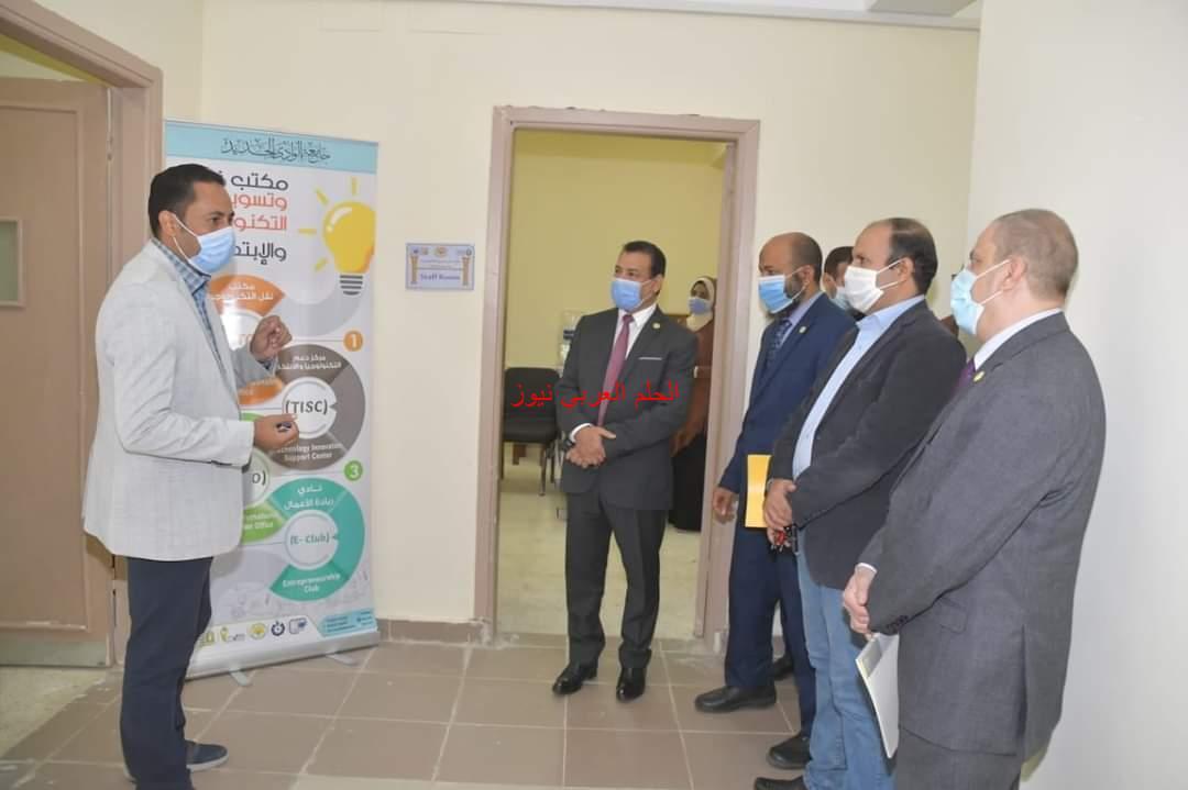زيارة وفد وزارة التخطيط لجامعة الوادي الجديد والإشادة بالمنشأت والمشروعات المنفذة.
