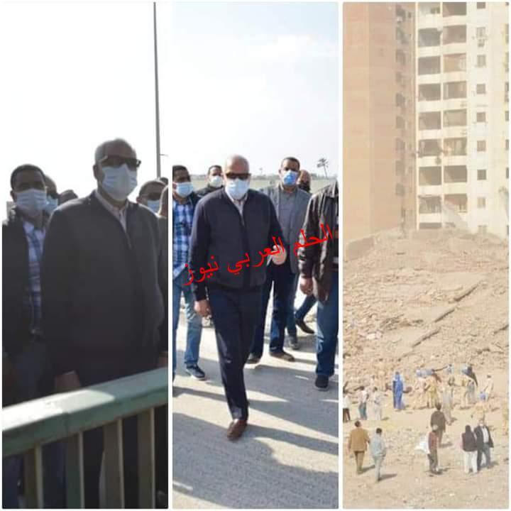 اللواء أحمد راشد يتابع أعمال إزالة عقار الدائري المحترق بـ الهرم<br>بتقنية التفجير بالديناميت
